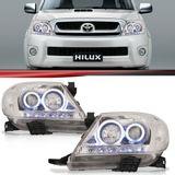 Par-Farol-Daylight-Hilux-Srv-2005-2006-2007-2008-2009-2010-2011-Foco-Duplo-Mascara-Cromada-Led