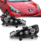 Par-Farol-Daylight-Peugeot-207-2008-2009-2010-2011-2012-2013-Black-Foco-Duplo-com-Angel-Eyes-Led
