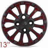 Jogo-Calota-Aro-13-Thunder-Grafite-com-Vermelho-Parafuso-Cubo-Baixo-4-Pecas