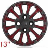 Jogo-Calota-Aro-13-Thunder-Grafite-com-Vermelho-Parafuso-Cubo-Alto-4-Pecas