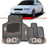 Combo-Audi-A3-2001-2002-2003-2004-2005-2006-Par-Farol-Mascara-Cromada---Tapete-Carpete-Personalizado-Grafite-Logo-Bordado-2-Lados-Dianteiro