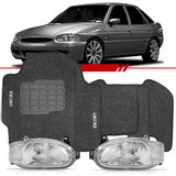 Combo-Escort-1997-1998-1999-2000-2001-2002-2003-Zetec-Hatch-Sedan-Sw-Par-Farol-Carcaca-Preta---Tapete-Preto-Grafite-Logo-Bordado-2-Lados-Dianteiro