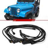 Jogo-Cabo-de-Vela-Ignicao-Supressivo-Jeep-Willys-6cc-1960-1961-1962-1963-1964-1965-1966-1967-1968-1969-1970-1971-1972-1973-1974-1975-Preto