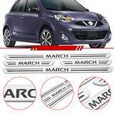 Jogo-Soleira-Resinada-de-Porta-Nissan-Personalizada-March-2011-2012-2013-2014-2015-2016-4-Pecas-Estreita-Aco-Escovado