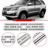 Jogo-Soleira-Resinada-de-Porta-Toyota-Personalizada-Hilux-Sw4-2012-2013-2014-2015-2016-4-Pecas-Estreita-Aco-Escovado