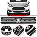 Jogo-Soleira-Resinada-de-Porta-Universal-Ford-4-Pecas-Estreita-Preta-com-Bandeira-Quadriculada