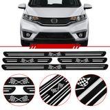 Jogo-Soleira-Resinada-de-Porta-Universal-Honda-4-Pecas-Estreita-Preta-com-Bandeira-Quadriculada
