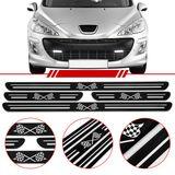 Jogo-Soleira-Resinada-de-Porta-Universal-Peugeot-4-Pecas-Estreita-Preta-com-Bandeira-Quadriculada