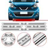 Jogo-Soleira-Resinada-de-Porta-Universal-Nissan-4-Pecas-Estreita-Aco-Escovado-com-Bandeira-Quadriculada