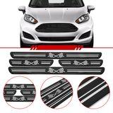 Jogo-Soleira-Resinada-de-Porta-Universal-Ford-4-Pecas-Larga-Preta-com-Bandeira-Quadriculada