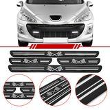 Jogo-Soleira-Resinada-de-Porta-Universal-Peugeot-4-Pecas-Larga-Preta-com-Bandeira-Quadriculada