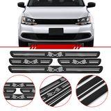 Jogo-Soleira-Resinada-de-Porta-Universal-Volkswagen-4-Pecas-Larga-Preta-com-Bandeira-Quadriculada