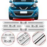 Jogo-Soleira-Resinada-de-Porta-Universal-Nissan-4-Pecas-Larga-Aco-Escovado-com-Bandeira-Quadriculada