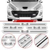 Jogo-Soleira-Resinada-de-Porta-Universal-Peugeot-4-Pecas-Larga-Aco-Escovado-com-Bandeira-Quadriculada