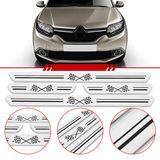 Jogo-Soleira-Resinada-de-Porta-Universal-Renault-4-Pecas-Larga-Aco-Escovado-com-Bandeira-Quadriculada
