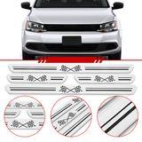 Jogo-Soleira-Resinada-de-Porta-Universal-Volkswagen-4-Pecas-Larga-Aco-Escovado-com-Bandeira-Quadriculada