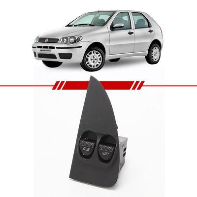 Botao-Interruptor-Duplo-Vidro-Eletrico-Dianteiro-Palio-Fire-2003-2004-2005-2006-2007-2008-2009-com-Moldura-Lado-Esquerdo-Motorista