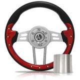 Volante-Esportivo-Mantis-Vermelho-320mm-com-Cubo-Ford---Modelo-Fd-01