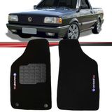 Tapete-Carpete-Personalizado-Preto-Saveiro-1985-a-1997-Logo-Volkswagen-Turbo-Bordado-2-Lados-Dianteiro