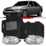 Combo-Escort-1997-1998-1999-2000-2001-2002-2003-Zetec-Hatch-Sedan-Sw-Par-Farol-Carcaca-Preta---Tapete-Carpete-Preto-Logo-Bordado-2-Lados-Dianteiro