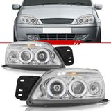 Par-Farol-Daylight-Fiesta-2001-2002-2003-Courier-2000-Ate-2010-Cromado-Foco-Duplo-com-Angel-Eyes-Led