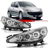 Par-Farol-Daylight-Peugeot-207-2008-2009-2010-2011-2012-2013-Cromado-Foco-Duplo-com-Angel-Eyes-Led