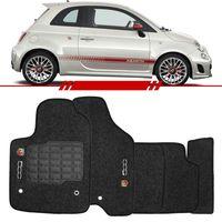 Tapete-Carpete-Grafite-Fiat-500-Abarth-2010-2011-2012-2013-2014-Logo-Bordado-2-Lados-Dianteiro