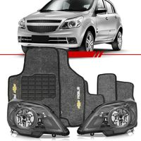 Combo-Agile-2009-2010-2011-2012-2013-Par-Farol-Cromomix---Tapete-Carpete-Grafite-Personalizado-Logo-Chevrolet-Bordado-2-Lados-Dianteiro