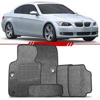 Tapete-Carpete-Grafite-Bmw-325-2006-2007-2008-2009-2010-2011-2012-Logo-Bordado-2-Lados-Dianteiro