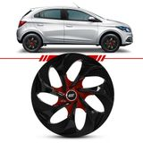 Calota-Evolution-Black-Red-Brilho-Esportiva-Aro-14-Universal-4x100-4x108