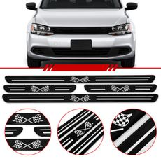 Jogo-Soleira-Resinada-Universal-Volkswagen-4-Pecas-Estreita-Preta-com-Bandeira-Quadriculada