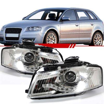 Par-Farol-Daylight-Audi-A3-Sportback-2006-2007-2008-Mascara-Cromada-Led