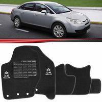 Tapete-Carpete-Personalizado-Preto-C4-Pallas-2007-2008-2009-2010-2011-Logo-Citroen-Bordado-2-Lados-Dianteiro