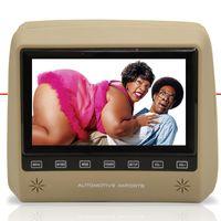 Par-Monitor-Tela-Encosto-de-Cabeca-7--Lcd-Botoes-Touchcreen-com-Controle-Escravo-Bege