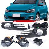 Kit-Farol-de-Milha-Auxiliar-Volkswagen-Fox-2015-2016-2017-Moldura-Cromada-Botao-Modelo-Original-do-Painel