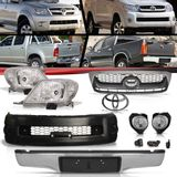 Combo-Toyota-Hilux-Srv-Modelo-2005-2006-2007-2008-Para-2009-2010-2011-Kit-Transformacao-Frente---Parachoque-Traseiro