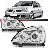 Par-Farol-Daylight-Renault-Clio-2003-2004-2005-2006-2007-2008-2009-2010-2011-2012-Cromado-Foco-Duplo-com-Angel-Eyes-Led