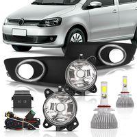 Kit-Farol-de-Milha-Auxiliar-Volkswagen-Fox-2010-2011-2012-2013-Botao-Modelo-Original-Painel-com-Moldura-Aro-Cromado-e-Super-Led