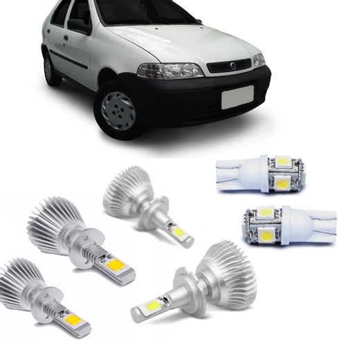Kit-Lampadas-Super-Led-HeadLight-6000k-com-reator-Fiat-Palio-G2-2001-2002-2003-2004-2005-2006-Weekend-Siena-Strada-com-Lampada-Pingo