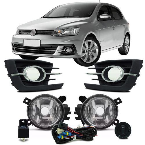 Kit-Farol-de-Milha-Auxiliar-Volkswagen-Gol-G7-2016-2017-com-Grade-Aro-Cromado-Botao-Modelo-Original