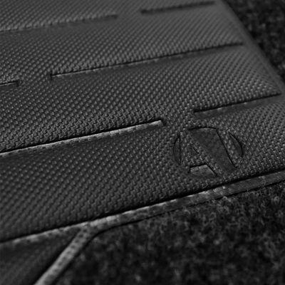 Tapete-Carpete-Personalizado-Preto-Audi-A6-1994-1995-1996-1997-Logo-Bordado-2-Lados-Dianteiro