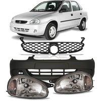 Par-Farol-Chevrolet-Corsa-Pick-Up-Corsa-2000-2001-2002-Carcaca-Preta---Parachoque-Dianteiro-sem-Furo-para-Milha---Grade-Dianteira