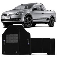 Tapete-Carpete-Saveiro-G5-G6-Preto-2010-2011-2012-2013-2014-Logo-Bordado-Volkswagen-2-Lados-Dianteiro-Cabine-Estendida