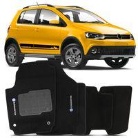 Tapete Carpete Preto Crossfox 2014 A 2016 Logo Volkswagen Bordado 2 Lados Dianteiro