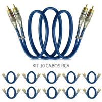 Kit-10-Cabos-RCA-Prime-Azul-Plug-Metal