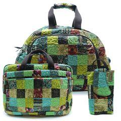Jogo-Mala-Com-Rodinha---Notebook---Celular-Travel-Set-Clover-em-Patchwork-Original