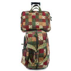 Jogo-Malas-Travel-Set-Lily-Com-Rodas---Capa-Para-Notebook-E-Celular-em-Patchwork-Original