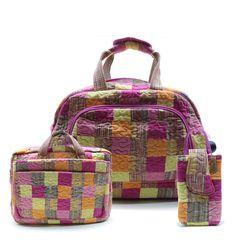 Jogo-Mala-Com-Rodinha--Notebook---Celular-Travel-Set-Mimosa-em-Patchwork-Original