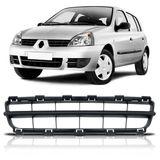 Grade-Central-Parachoque-Dianteira-Renault-Clio-2006-2007-2008-2009-2010-2011-Preto-Poroso