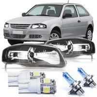 Par-Farol-Volkswagen-Gol-2006-2007-2008-2009-2010-2011-2012-2013-2014-Parati-Saveiro-G4-Power-Mascara-Negra-com-Super-Branca